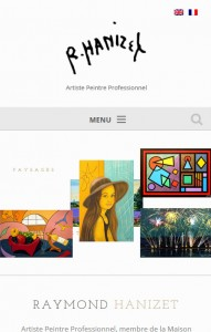 Site du peintre Raymond Hanizet sur smartphone